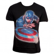 Captain America T-Shirt Launched the Shield Black (Size: S)
