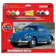 VW/Volkswagen Beetle (1960's shape) Starter/Gift set with 6 paint, 2 brushes and glue.