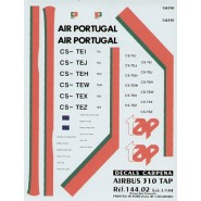 Airbus A310 TAP Air Portugal includes all registrations CS-The/I/J/W/X/Z and names