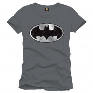 Batman Cracked Silver Logo T-Shirt Anthracite  (Size: S)
