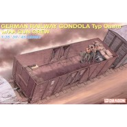German open topped railway gondola/box van car with AA machine gun and 2 figures