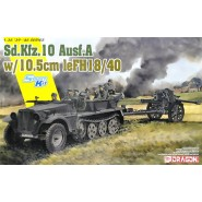 Sd.Kfz.10 1t halftrack towing a 10.5cm le.FH.18 howitzer