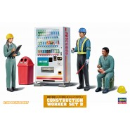 """""""Having a rest"""" of construction worker figure (woman x 1, man x 2) with a drink vending machine & accessories"""