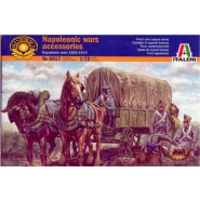 French Napoleonic supply convoy horse drawn wagon, barrels, boxes and figures