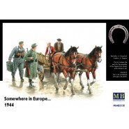 'Somewhere in Europe 1944'. Contains a farmer's cart, two civilian people on the cart, two horses and two German soldiers.