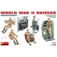 WWII driver figures x 6. 5 seated. 1 German standing. 2 Russian seated. 1 British. 1 American.