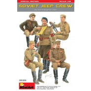 SOVIET JEEP CREW. SPECIAL EDITION Unassembled Plastic Model Kit contains five Figures and Weapons