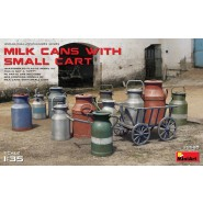Milk Cans with Small Cart 12 Milk Cans Photoetched Parts
