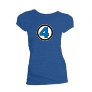 Marvel Ladies Fantastic Four Logo T-Shirt Blue(Size: L)