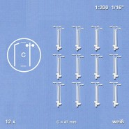 White Street Lamps Single and Double Arm (C = 47mm) x 12 pcs.