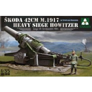 Skoda 42cm M1917 Heavy Siege Howitzer - Gun can pitch and rotate - 1/35 figure included