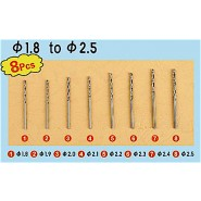 Twist Drilling Auger Bit Set 3 (� 1.8 to 2.5mm 8 pcs ea)