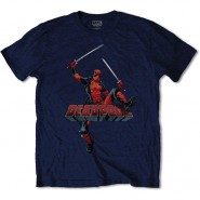 Marvel Comics Deadpool Jump T-Shirt Blue (Size: XL)