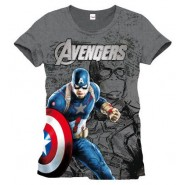 Avengers Age of Ultron Captain America T-Shirt Grey (Size: XL)